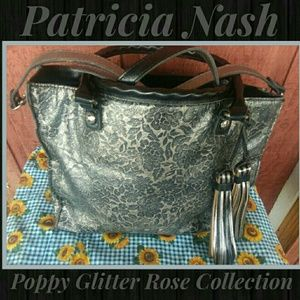 Patricia Nash Poppy Glitter Rose Handbag